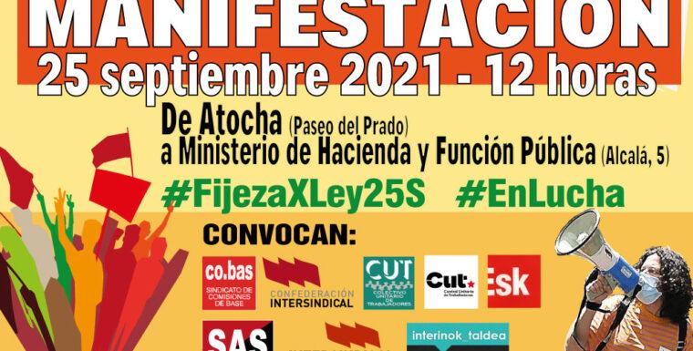 La Confederación Intersindical llama a la participación en la manifestación del 25 de septiembre por la estabilidad del personal temporal e interino en fraude de ley